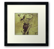 Sunflowers and Brushes Framed Print