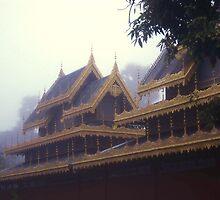 Detail of Wat at Dawn, Mae Hong Son, Thailand. by Peter Stephenson