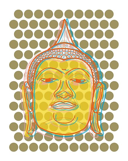 Buddha's Smile Zen Pop Art by fatfatin