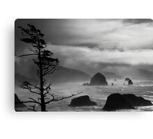 A Stormy Day at Cannon Beach - black & white Canvas Print