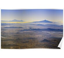 Smog over Mexico City Volcanoes Poster