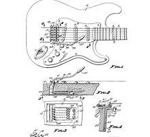 Vintage/Retro Fender Strat/Stratocaster Tremolo Patent Drawing  by Framerkat