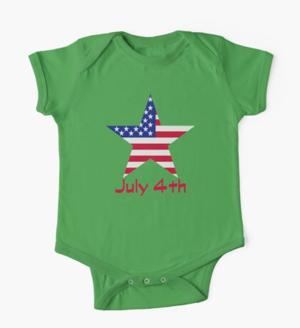 July 4th Independence day flag One Piece - Short Sleeve