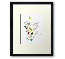Colorful Whimsical Summer Birds & Swirls Framed Print