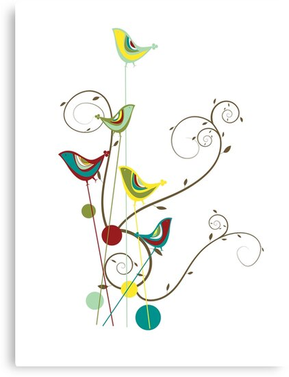 Colorful Whimsical Summer Birds & Swirls by fatfatin