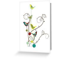 Colorful Whimsical Summer Birds & Swirls Greeting Card