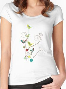 Colorful Whimsical Summer Birds And Swirls Women's Fitted Scoop T-Shirt