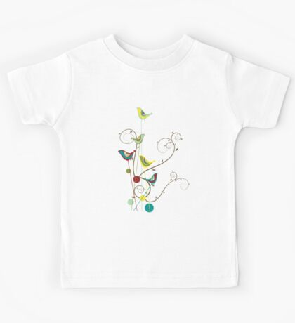 Colorful Whimsical Summer Birds And Swirls Kids Tee