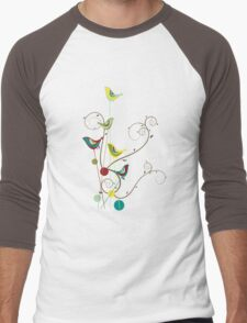 Colorful Whimsical Summer Birds And Swirls Men's Baseball ¾ T-Shirt