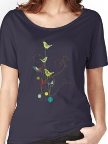 Colorful Whimsical Summer Birds And Swirls Women's Relaxed Fit T-Shirt