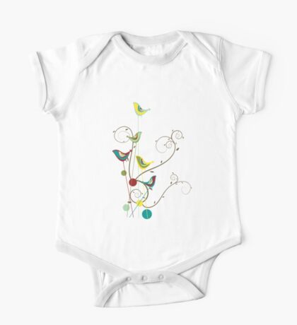 Colorful Whimsical Summer Birds And Swirls Kids Clothes