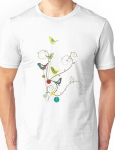 Colorful Whimsical Summer Birds And Swirls Unisex T-Shirt