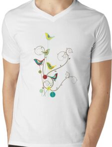 Colorful Whimsical Summer Birds And Swirls Mens V-Neck T-Shirt
