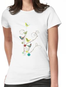 Colorful Whimsical Summer Birds And Swirls Womens Fitted T-Shirt