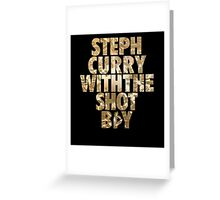 Steph Curry With The Shot Boy Gold Greeting Card