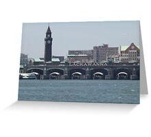 Classic Erie Lackawanna Ferry and Train Terminal, Hoboken, New Jersey Greeting Card