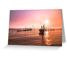 Old dock sunrise Greeting Card