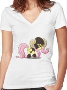 Fluttershy is the D'awwvahkiin (My Little Pony: Friendship is Magic) Women's Fitted V-Neck T-Shirt