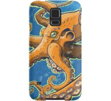 Tangerine Octopus on Blue Background Samsung Galaxy Case/Skin