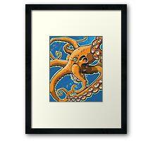 Tangerine Octopus on Blue Background Framed Print