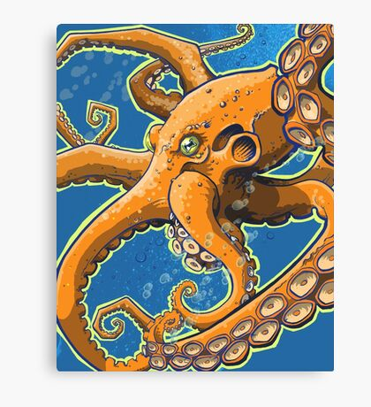 Tangerine Octopus on Blue Background Canvas Print