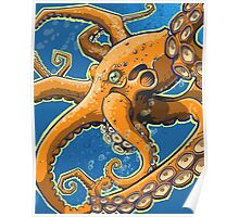 Tangerine Octopus on Blue Background Poster