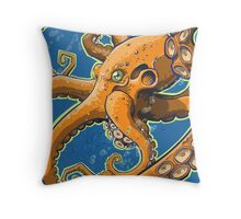 Tangerine Octopus on Blue Background Throw Pillow
