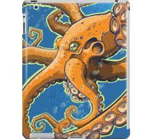 Tangerine Octopus on Blue Background iPad Case/Skin