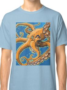 Tangerine Octopus on Blue Background Classic T-Shirt