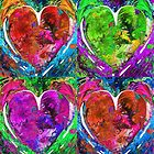 Colorful Pop Hearts Love Art By Sharon Cummings by Sharon Cummings