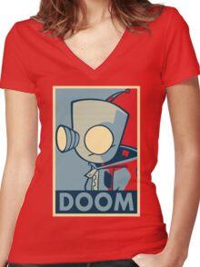 DOOOOOM - Gir Women's Fitted V-Neck T-Shirt