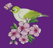 White-eye and sakura blossom - T-shirt by oksancia