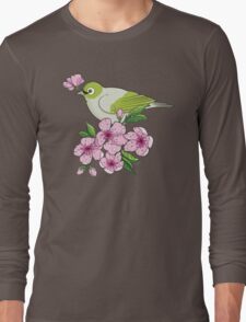 White-eye and sakura blossom - T-shirt Long Sleeve T-Shirt