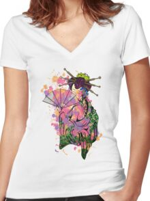 Floral Geisha Women's Fitted V-Neck T-Shirt