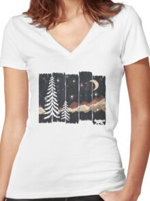 Starry Night in the Mountains... Women's Fitted V-Neck T-Shirt