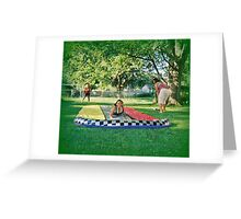 Sliding On The Water Slide Greeting Card