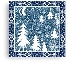 Christmas white lace ornament Canvas Print