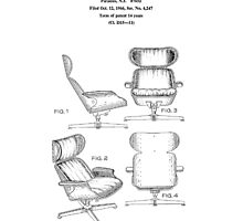 Iconic Eames Recliner/Lounger Lounge Chair Patent Drawings by Framerkat