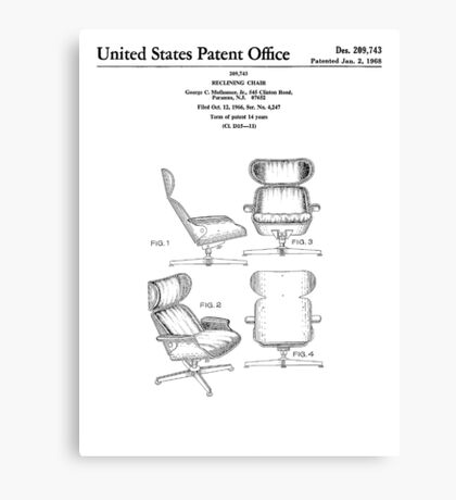 Iconic Eames Recliner/Lounger Lounge Chair Patent Drawings Canvas Print