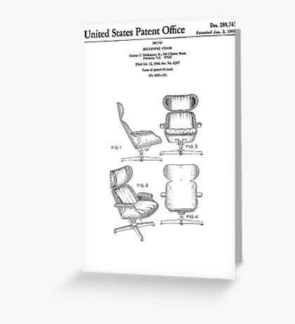 Iconic Eames Recliner/Lounger Lounge Chair Patent Drawings Greeting Card
