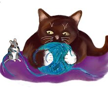 Blue Ball of Yarn for Mouse and Kitten by NineLivesStudio