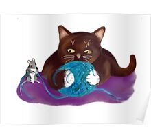 Blue Ball of Yarn for Mouse and Kitten Poster