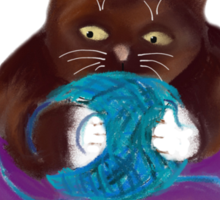 Blue Ball of Yarn for Mouse and Kitten Sticker
