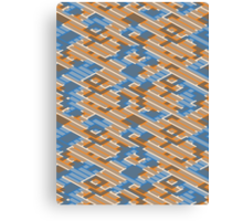 Geometric Lanes (Orange/Blue) Canvas Print