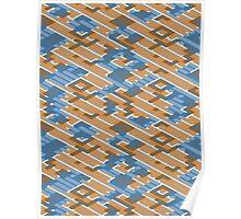 Geometric Lanes (Orange/Blue) Poster