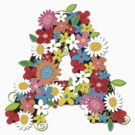 Whimsical Spring Flowers Alphabet A by fatfatin