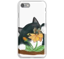 Butterfly on Yellow Flowers Temps Kitty iPhone Case/Skin
