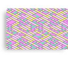 Geometric Lanes (Glam Pink/Yellow/Teal) Canvas Print