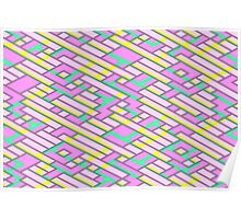 Geometric Lanes (Glam Pink/Yellow/Teal) Poster
