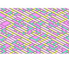 Geometric Lanes (Glam Pink/Yellow/Blue) Photographic Print